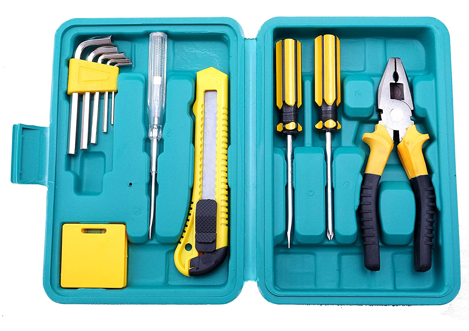 NOVICZ 12 Pcs Home Tool Set with Box / Home Repair Tool Kit with Carry Case