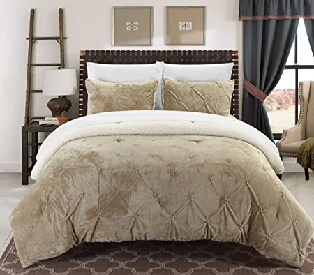 Lavish Home 3 Piece Taupe King Sherpa Puffy Comforter Set