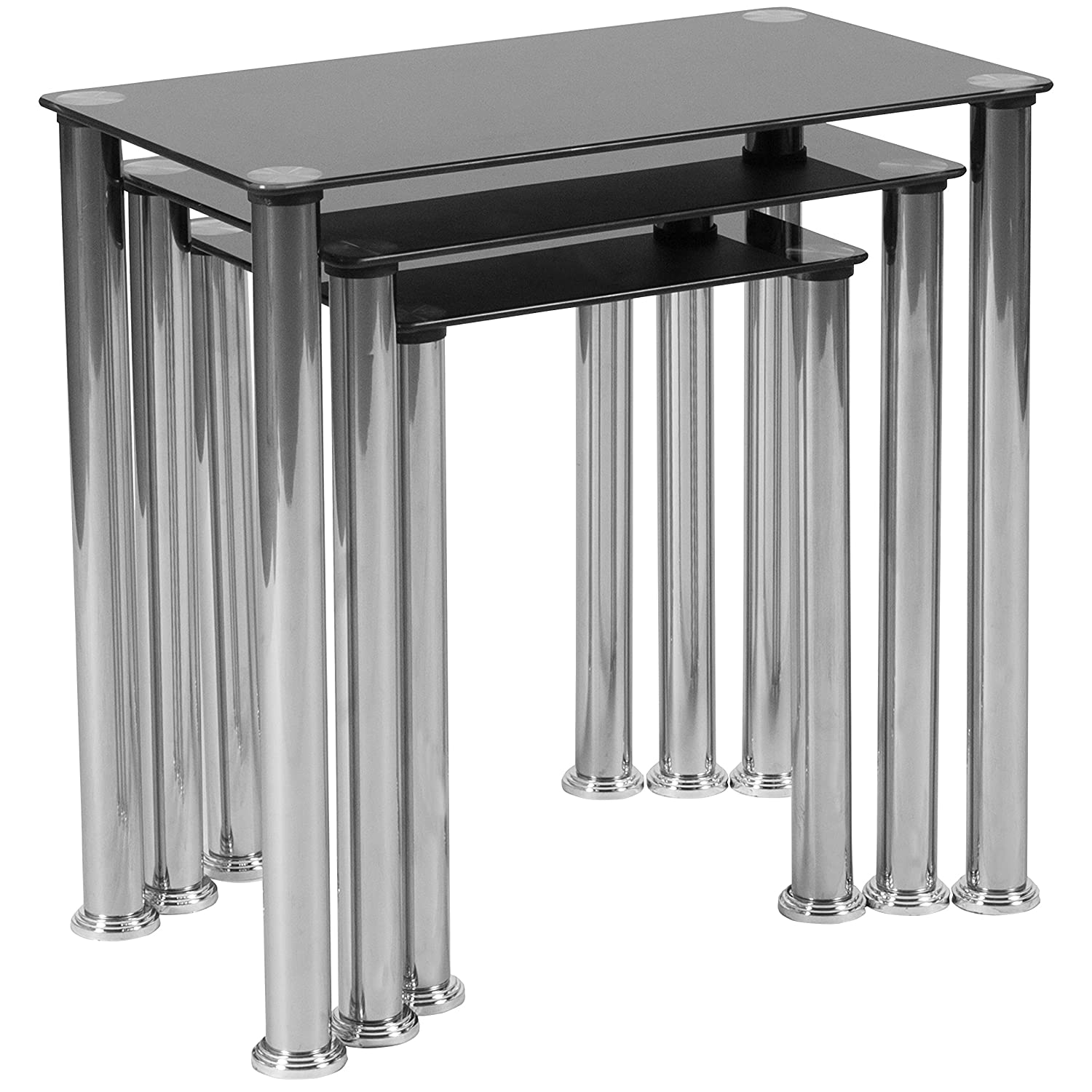 Flash Furniture Riverside Collection Black Glass Nesting Tables with Stainless Steel Legs, HG-112349-GG