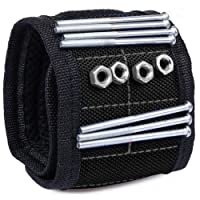 ACE Gadget – STRONG & LARGEST Magnetic wristband tool with ADJUSTABLE straps for ALL wrist size - Best Magnetic Wrist Arm Band for Holding tools, screws, nails, nuts and bolts, drill bits, washers, screwdriver bits, pliers - holds small metal objects (black)
