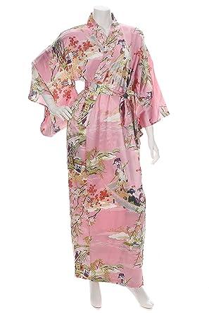 bae9e86bfc Silk Ukiyoe Print Long Pink Japanese Kimono at Amazon Women s ...