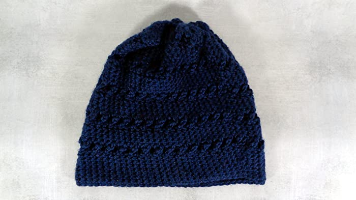Amazon.com  Navy blue soft slouchy beanie hat for men and women one size   Handmade bb0d887098a