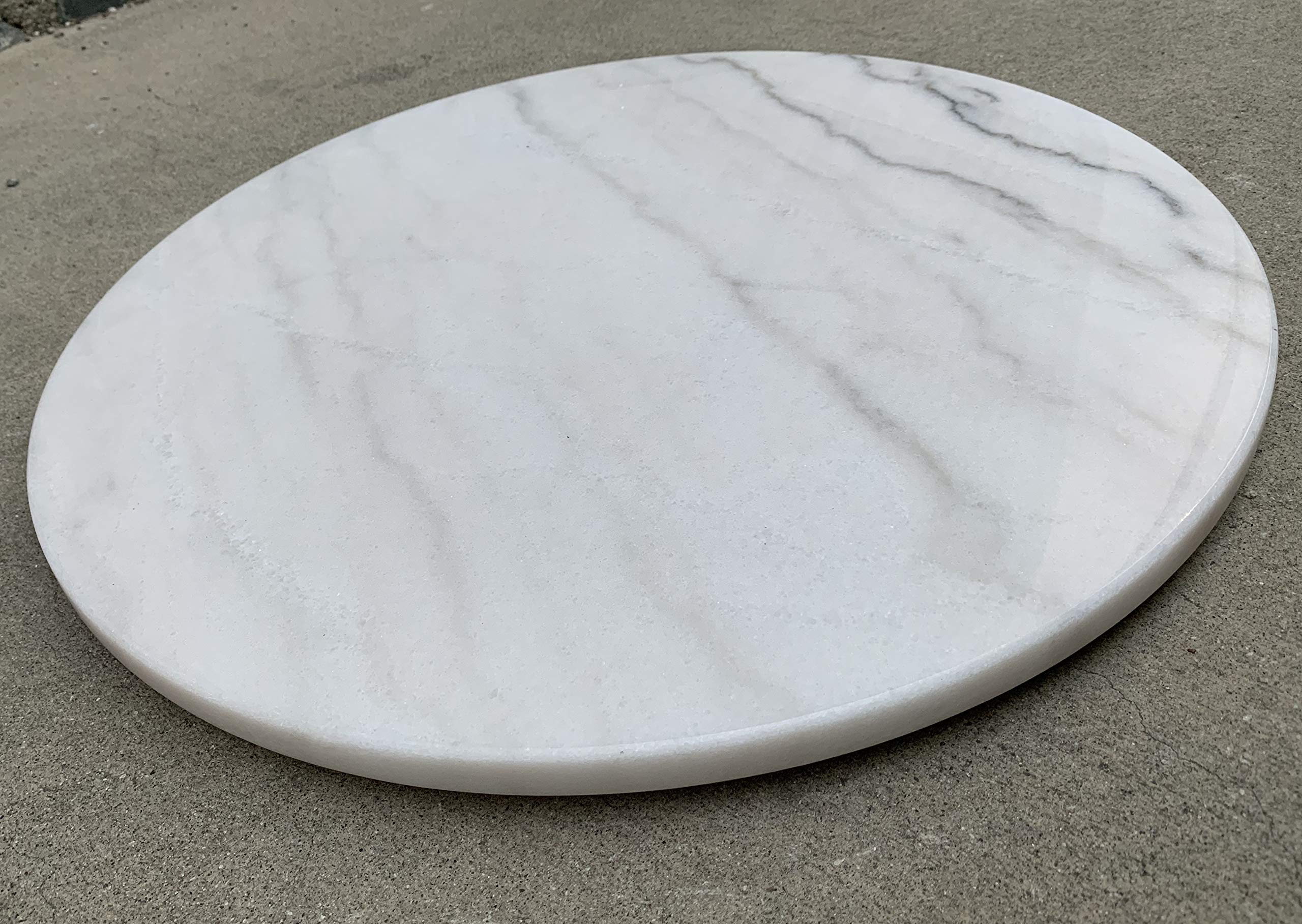 Advanced Furniture 20'' Round White Marble Lazy Susan Turntable Tray by Advanced Furniture