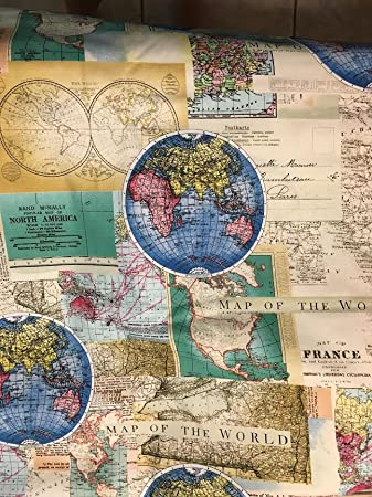 Amazon rand mcnally world map maps globe cotton rand mcnally world map maps globe cotton fabric by the yard gumiabroncs Choice Image