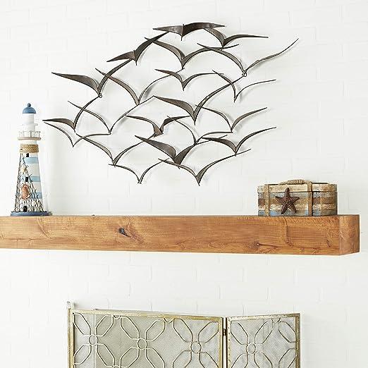 x 46 in 26 in Distressed Wood//Brown Metal Wall Art Panel w// Scroll Design