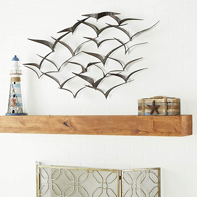 Flock of Birds Set of 5 Decorative Metal Wall Hanging Art 5 x 4.5 inches or 11 x 12 cm Freedom Haute Collage 5x Birds 3D Wall Art