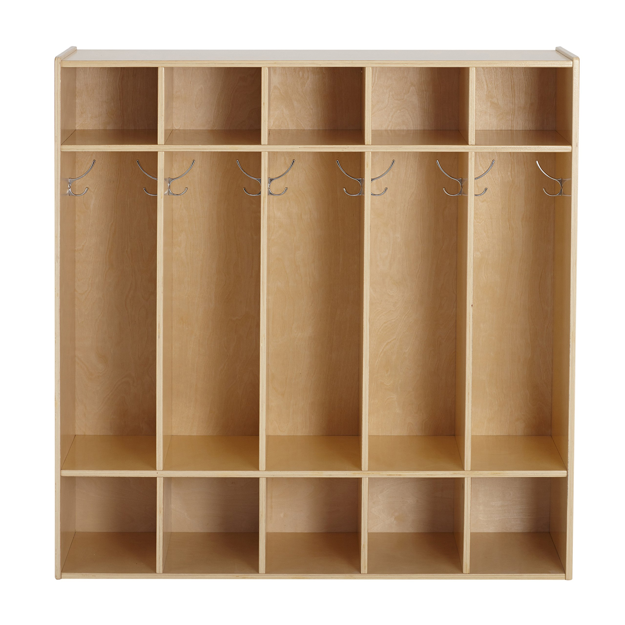 ECR4Kids Birch Wood Streamline 5-Section Kids Coat Locker