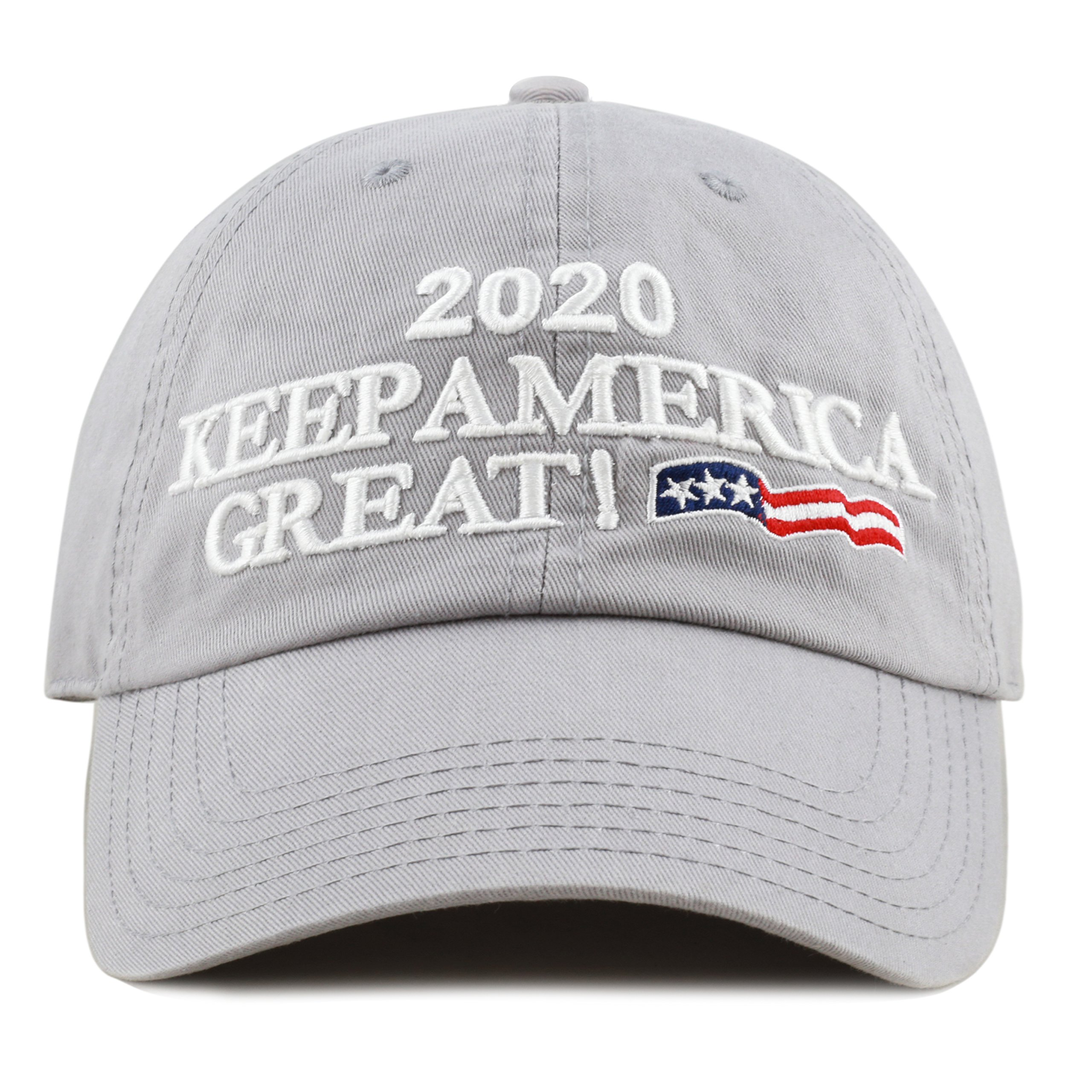 aa1bdd9160e THE HAT DEPOT Trump 2020 President Campaign Flag Washed Cotton Unstructured  Cap (Grey)