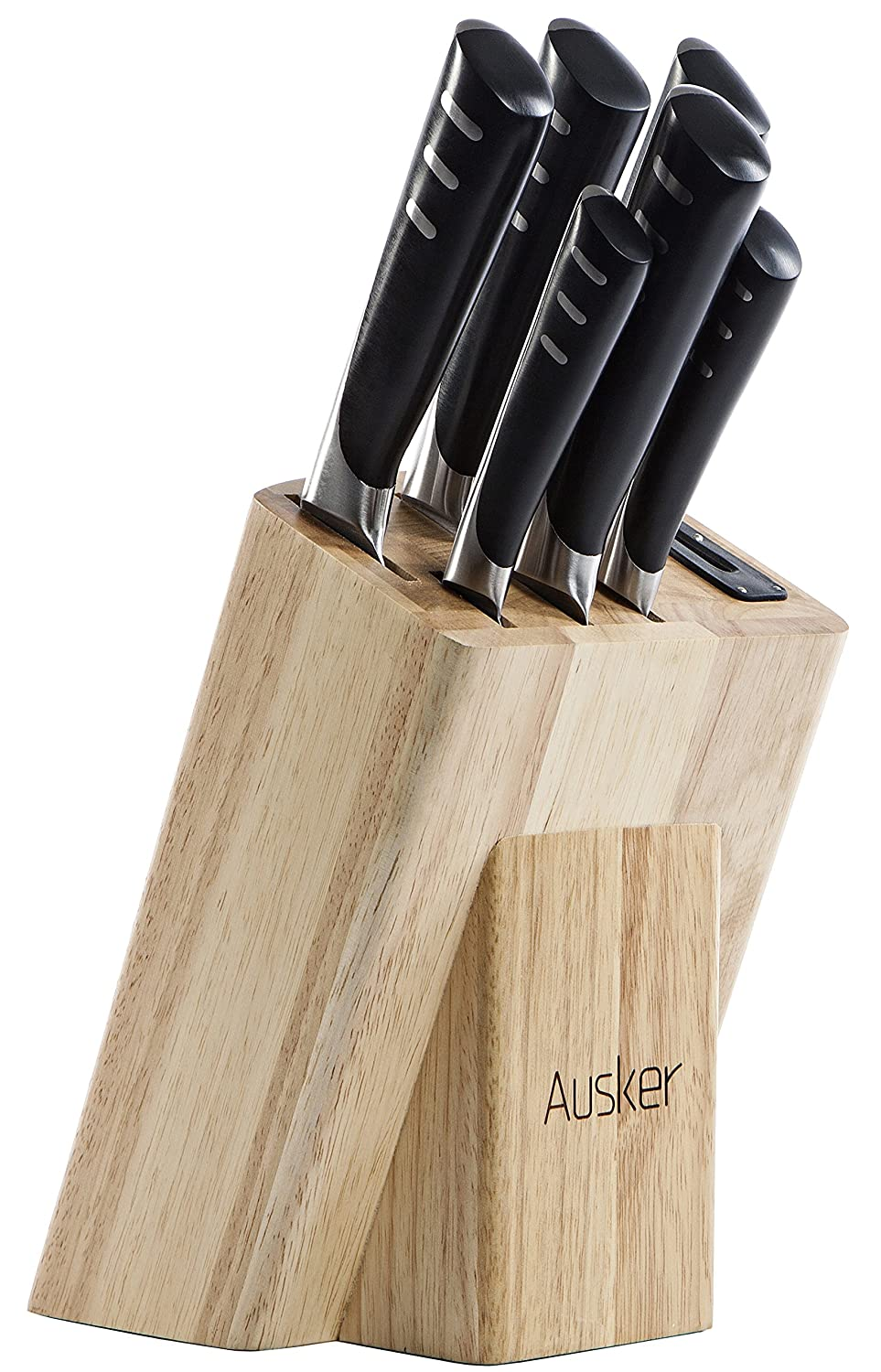 ausker stainless steel kitchen knife set with sharpener wood