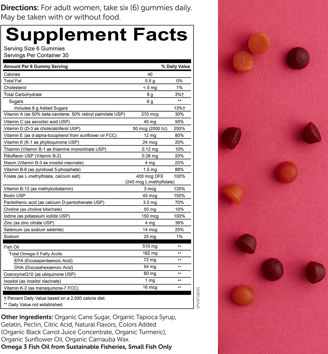SmartyPants Women s Formula Daily Gummy Vitamins Gluten Free, Multivitamin Omega 3 Fish Oil DHA EPA , Methyl B12, Vitamin D3, Vitamin B6, 180 Count 30 Day Supply – Packaging May Vary