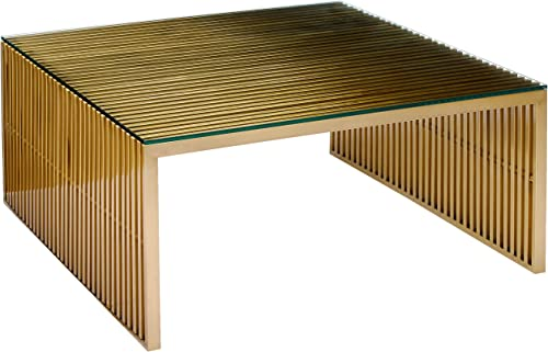 Modway Gridiron Gold Contemporary Modern Stainless Steel Coffee Table