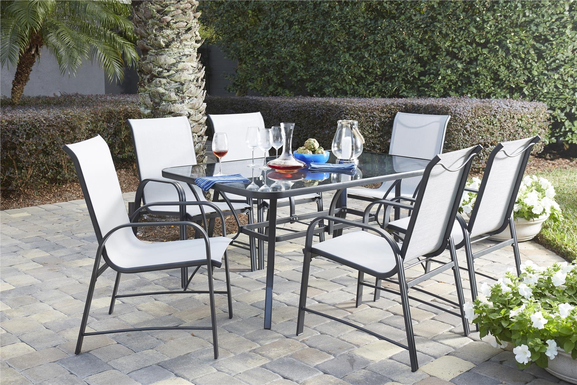 "Cosco Outdoor Dining Chairs, 6-Pack, Gray Frame, Light Gray Sling - Cosco's Paloma collection outdoor dining chairs feature an all weather sling and a durable weather resistant outdoor powder coated steel frame The dining chairs can be paired with the Paloma outdoor dining table or can match existing patio furniture Dimensions are: dining chairs 21.41"" L x 26.57"" W x 27.4"" H - patio-furniture, dining-sets-patio-funiture, patio - 91Nxwqo8niL -"
