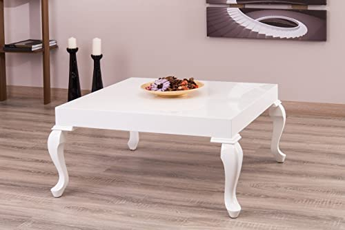 La Viola Decor New Modern Contemporary Glossy Lacquer Lukens Coffee Table 7192 in White Color