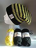 my boshi Häkelset Mütze, schwarz, gelb wie abgebildet m. 150g myboshi Wolle, Label, Lara's Creations Anleitung