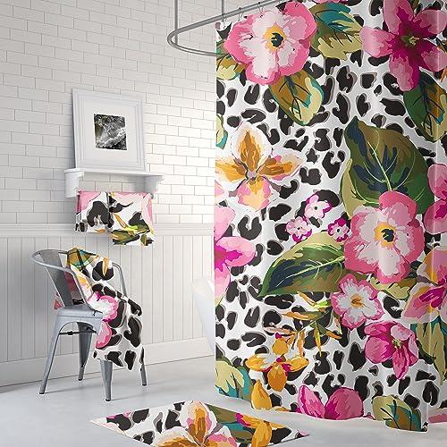 Amazon Shower Curtain Tropical Floral Leopard