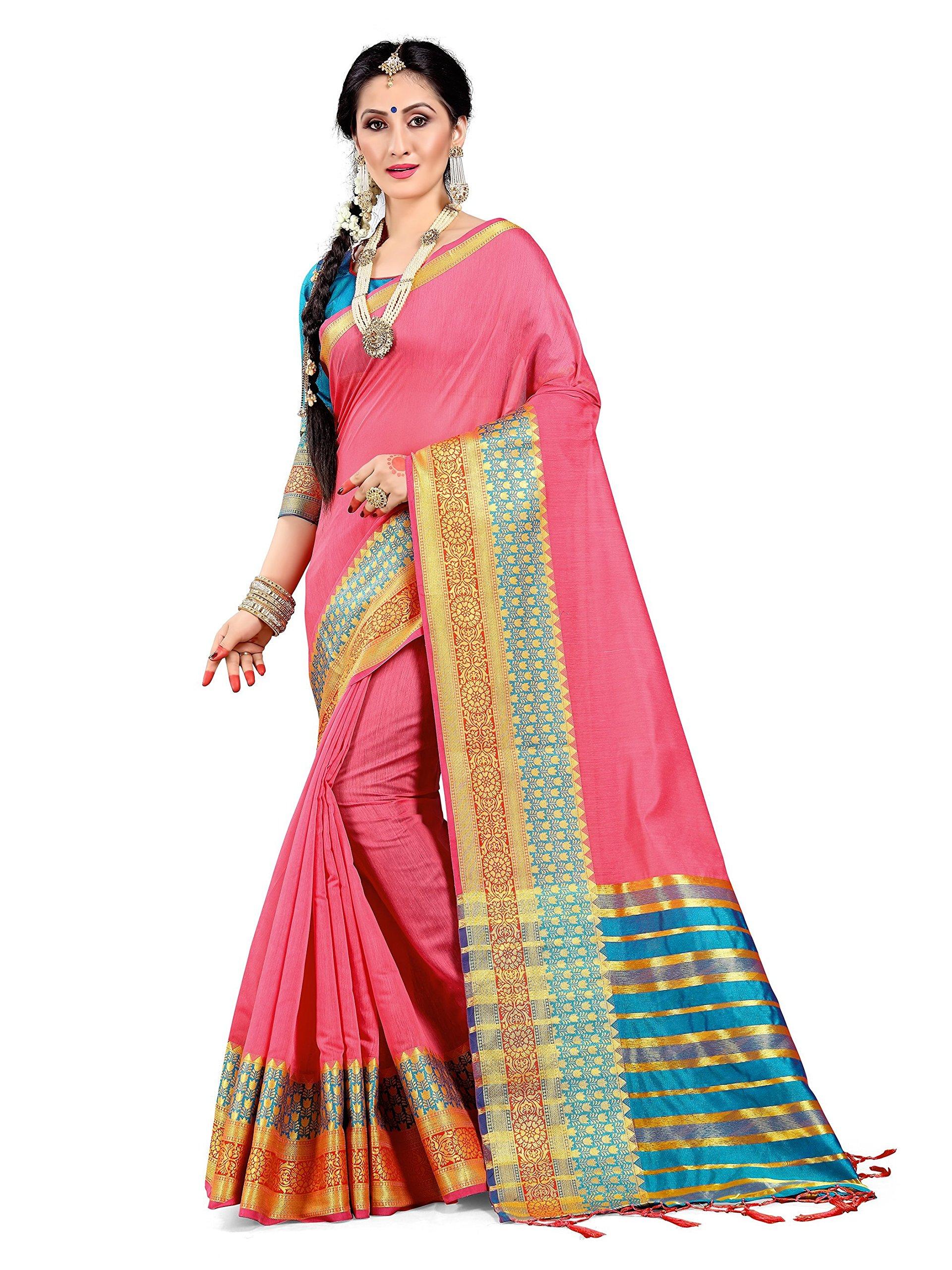 ELINA FASHION Sarees for Women Cotton Silk Woven Saree l Indian Wedding Gift Sari with Unstitched Blouse