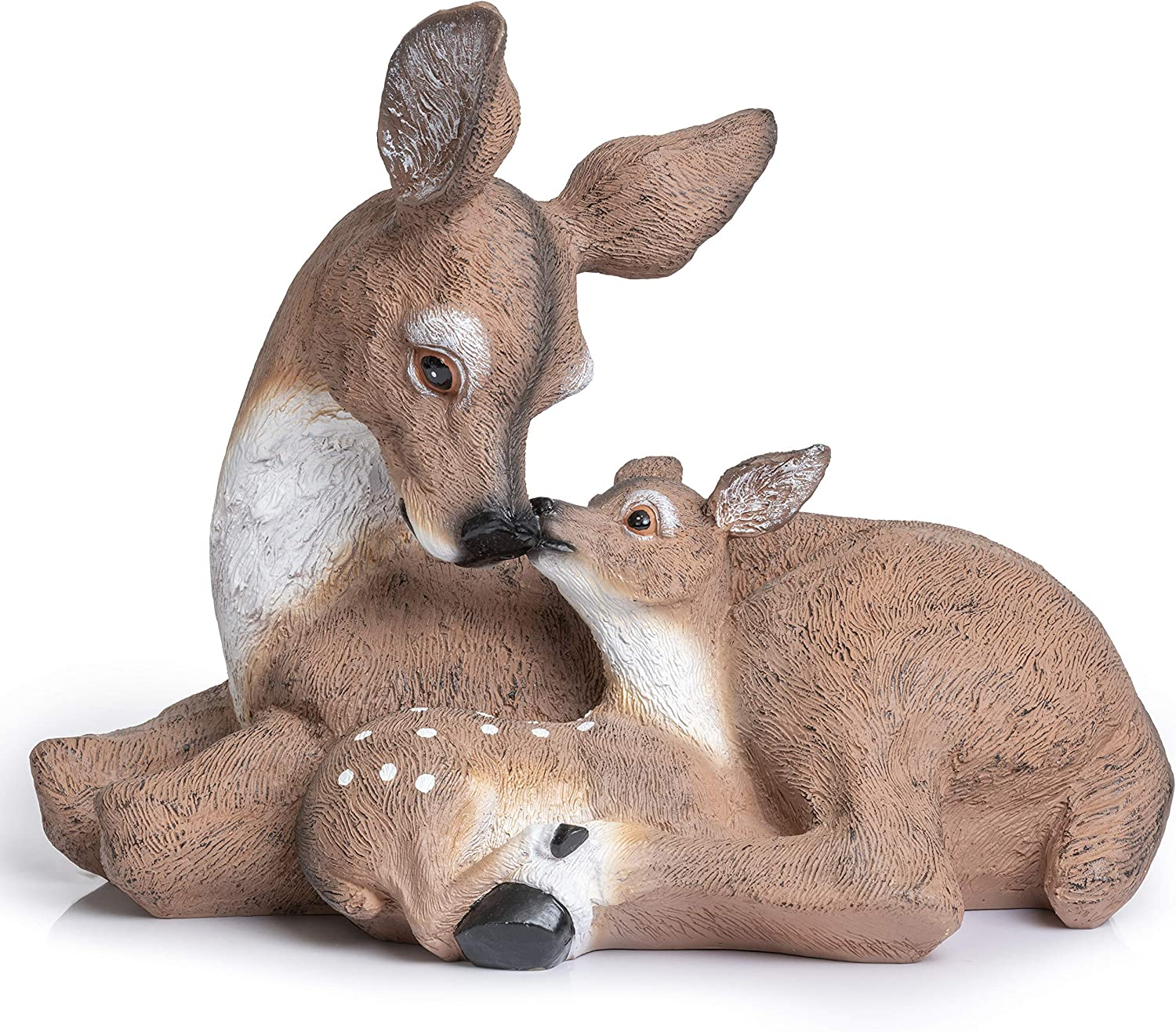 Deer Statue Yard Garden Decorations | Adorable Doe & Fawn Look Great in Any Outdoor Living Space | Animal Figurines Great Indoors, Cabin, Rustic Decor | 10 x 12-1/2 Inches