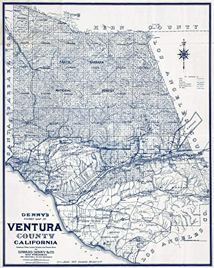 Amazon Pocket Map Ventura County California 1913