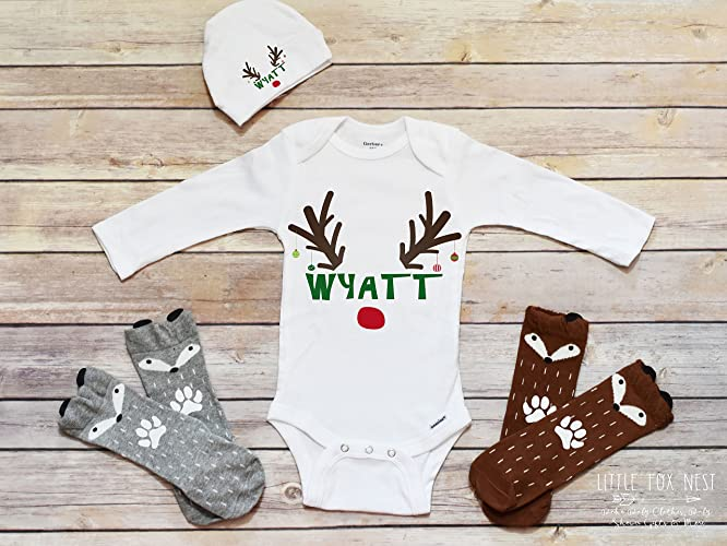 5e533020d Amazon.com: First Christmas Outfit Boy, Christmas Shirts, Christmas  Onesie®, Christmas Outfit Baby Girl, Reindeer Shirt: Handmade