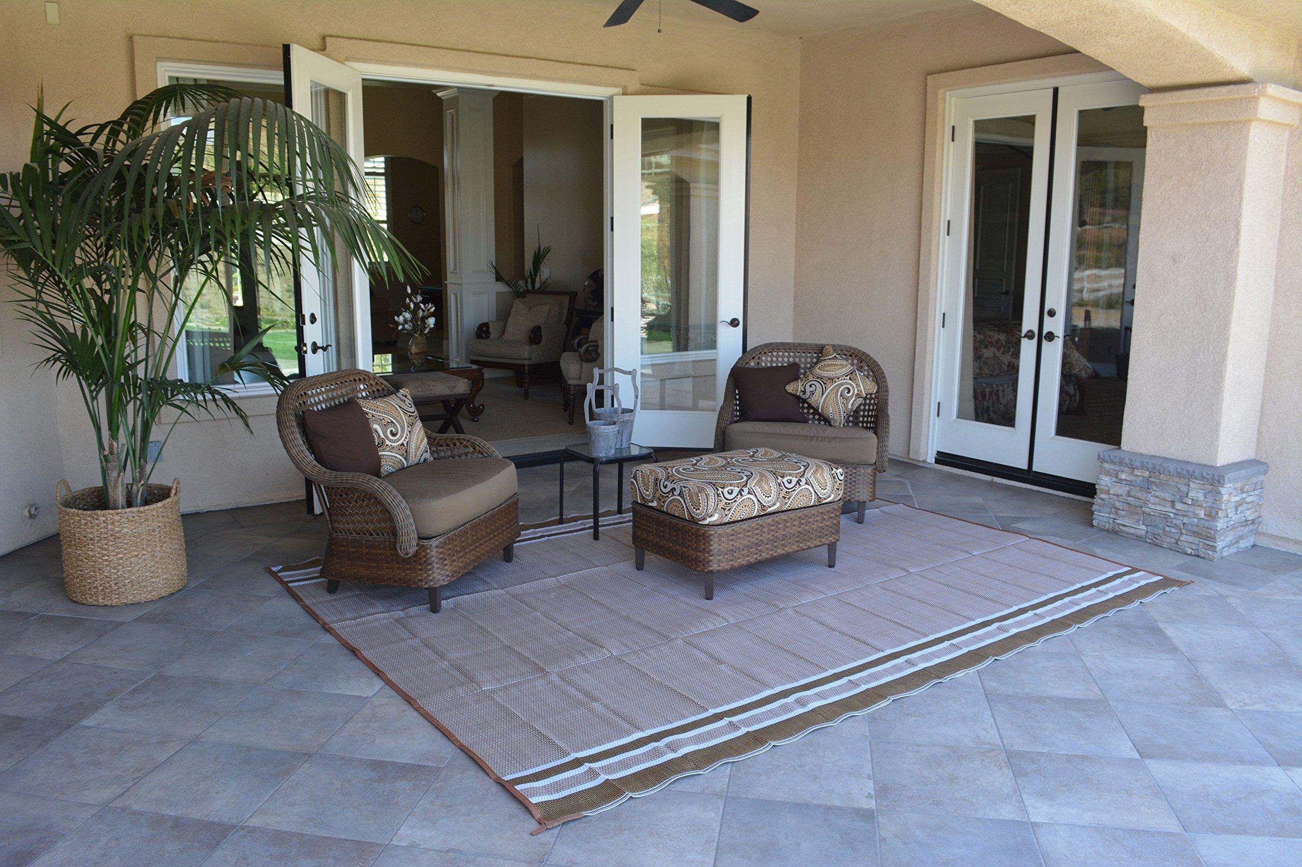 Patio Furniture Rug Beige/White Stripe Backyard Patio Mat Outdoor Reversible Rug (9' x 12')