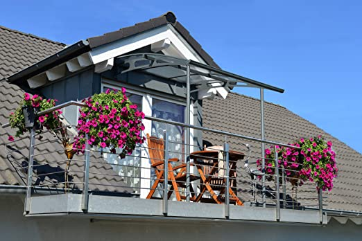 Palram Marquesina, protector de lluvia, Vega 2000, transparente, incluye canalones, 200 x 200 cm, cubierta y tejado de balcón: Amazon.es: Bricolaje y herramientas