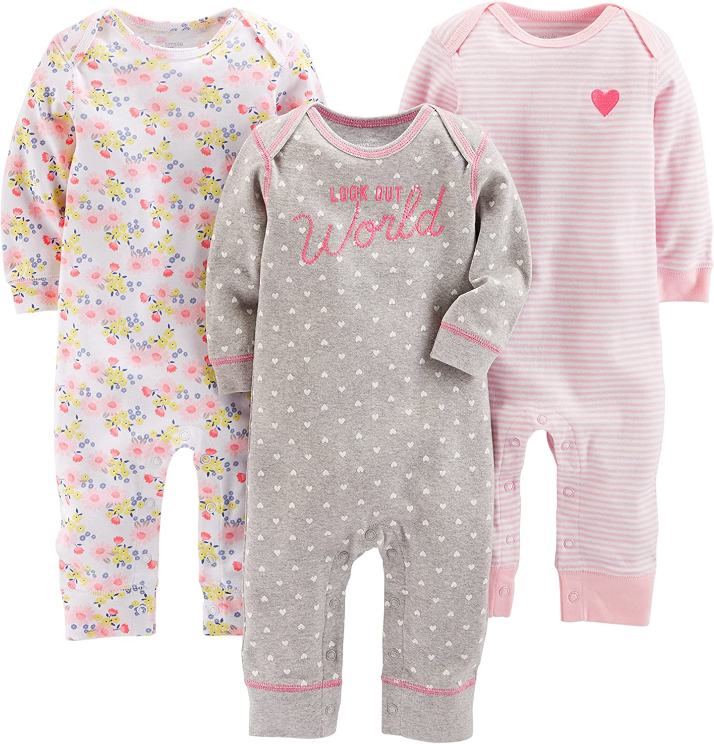Simple Joys by Carters Baby-Girls 3-Pack Snap-up Rompers