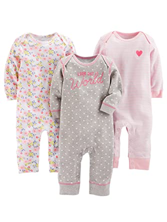dca1b1b574e9 Amazon.com  Simple Joys by Carter s Baby Girls  3-Pack Jumpsuits ...