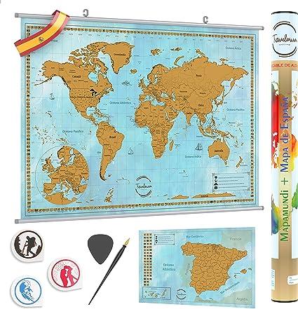 TRAVELORUM Mapa Mundi de Rascar en Español + KIT PARA COLGAR + ...