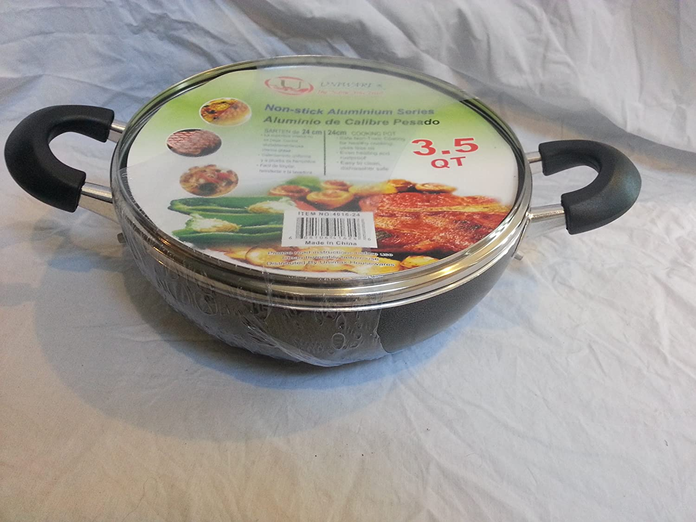Amazon.com: Non-Stick Aluminium Rounded Cooking Pot / Casserole w/ Glass Cover (6.5): Home & Kitchen