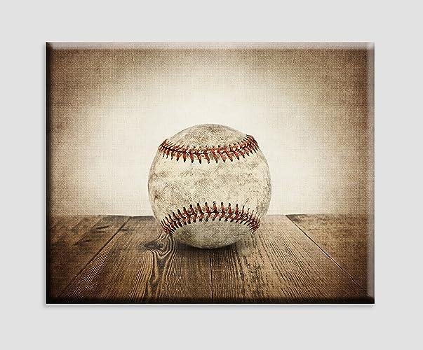 Exceptional Vintage Baseball On Vintage Background Stretched Canvas Art, Sports Decor,  Baseball Nursery Decor,
