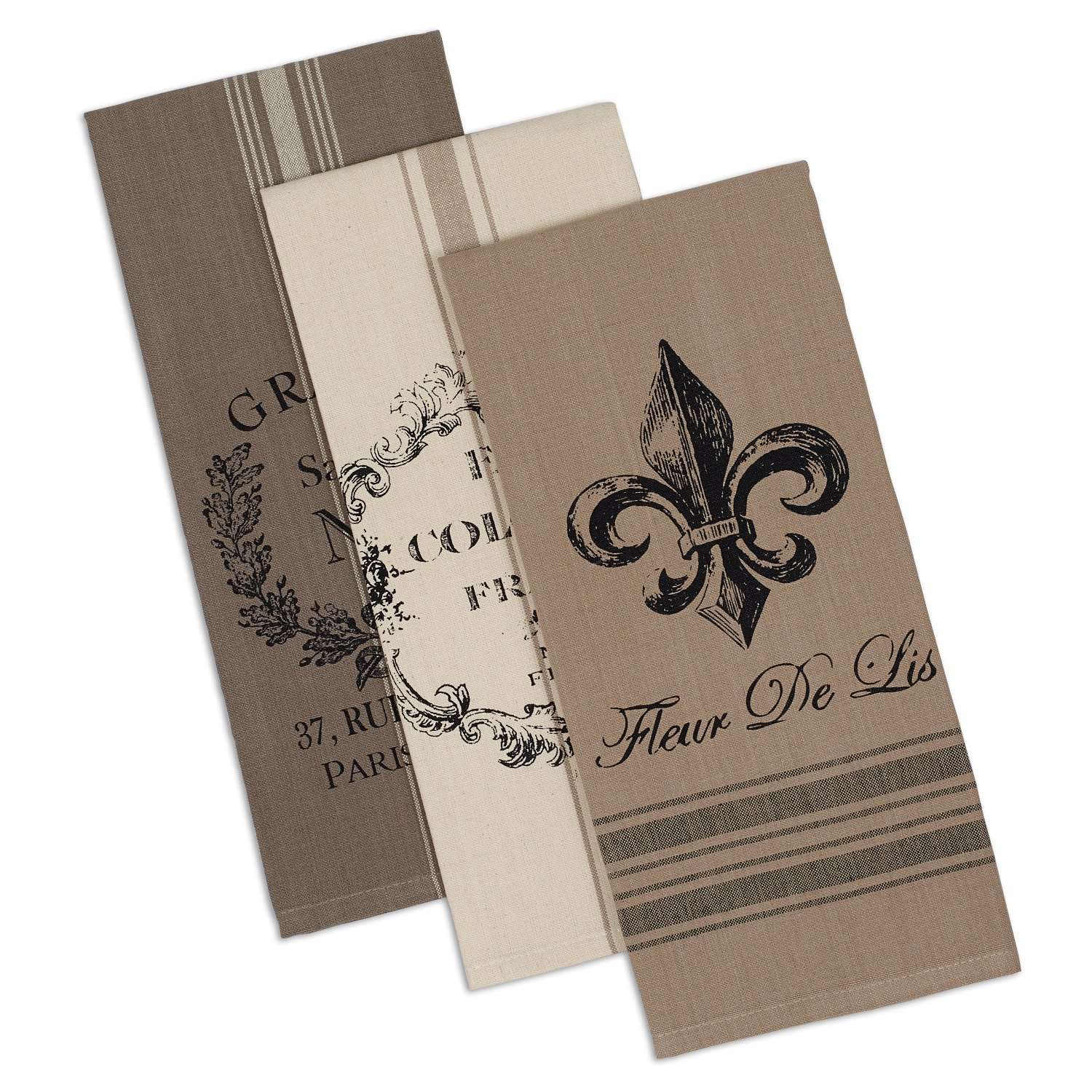 """DII Cotton French Grain Sack Dish, Decorative Tea Towels for Everyday Kitchen Cooking and Baking Fleur De Lis 18x28"""", Assorted Stripe"""