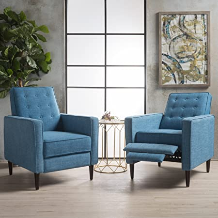 Christopher Knight Home 300975 Marston Mid Century Modern Fabric Recliner Set of 2 Muted Blue ,