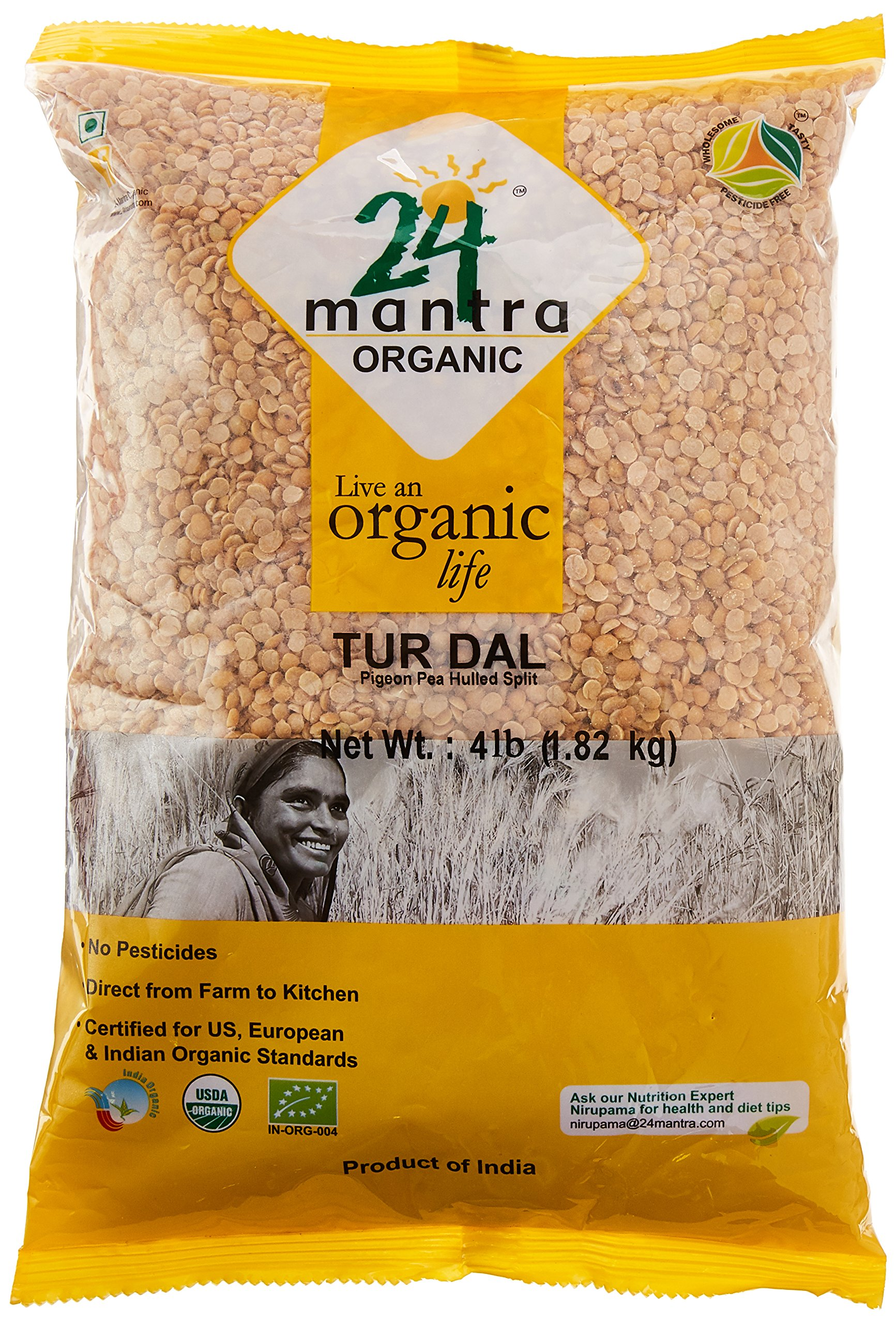 Organic Toor Dal - Organic Split Pigeon Peas (Toor Dal) -USDA Certified Organic - European Union Certified Organic -Pesticides Free - Adulteration Free - Sodium Free - 4 Lbs - 24 Mantra Organic by 24 MANTRA