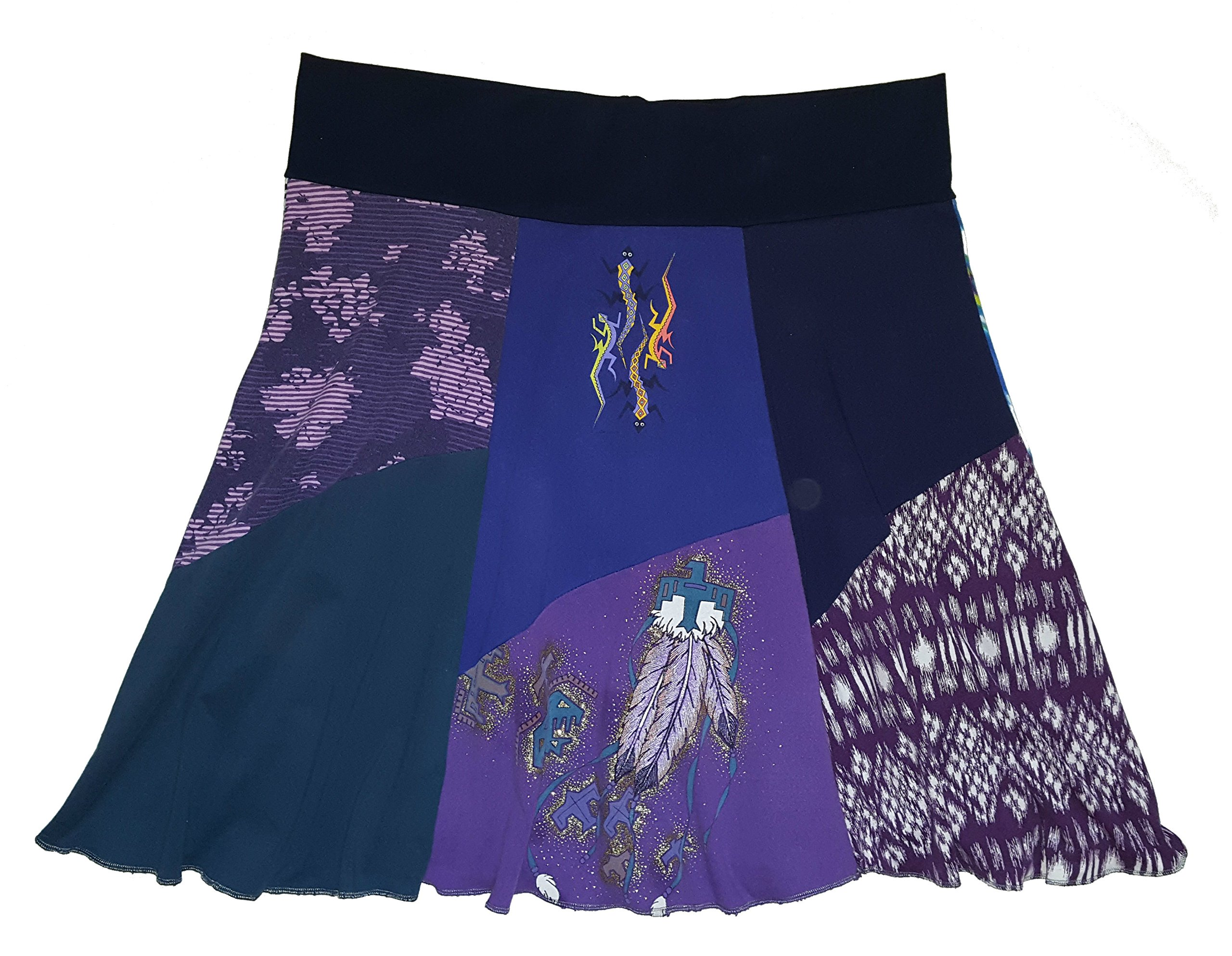 Plus Size Southwestern Skirt 2X 3X One of a Kind Upcycled Purple T-Shirt Skirt