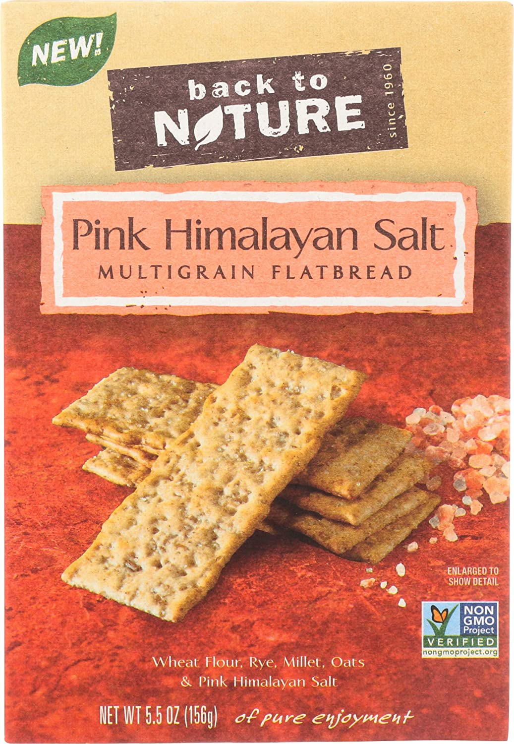 Back to Nature Non-GMO Pink Himalayan Multigrain Flatbread Crackers, 5.5 Ounce (Packaging May Vary)