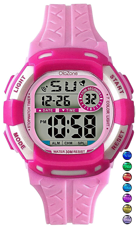 Amazon.com: Kids Watch Digital Girls Boys 7-Color Flashing Light ...