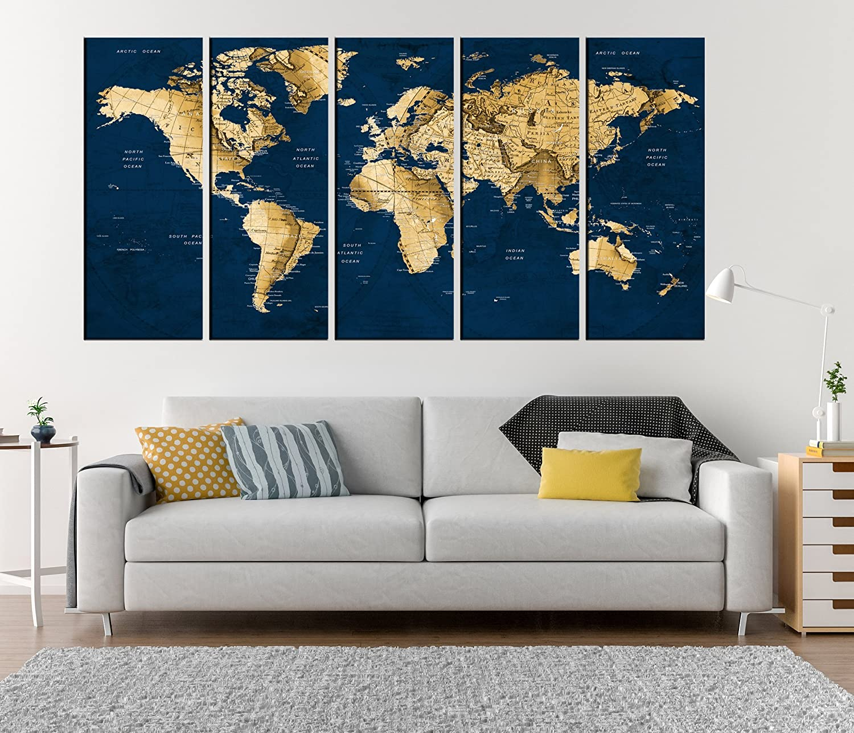 Amazon.com: Large Wall Art Canvas Framed Push Pin World Map ...