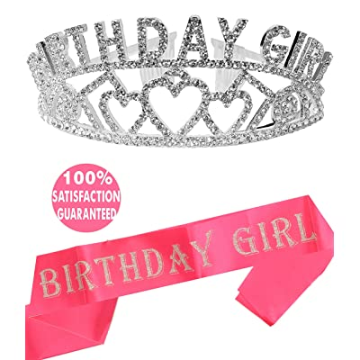 Birthday Decorations, Happy Birthday, Birthday Girl Sash and Tiara, Birthday Girl Headband, Birthday Girl Accessories, Happy Birthday Party Supplies, Favors, Decorations 13th, 16th, 21st, 30th, 35th,: Clothing
