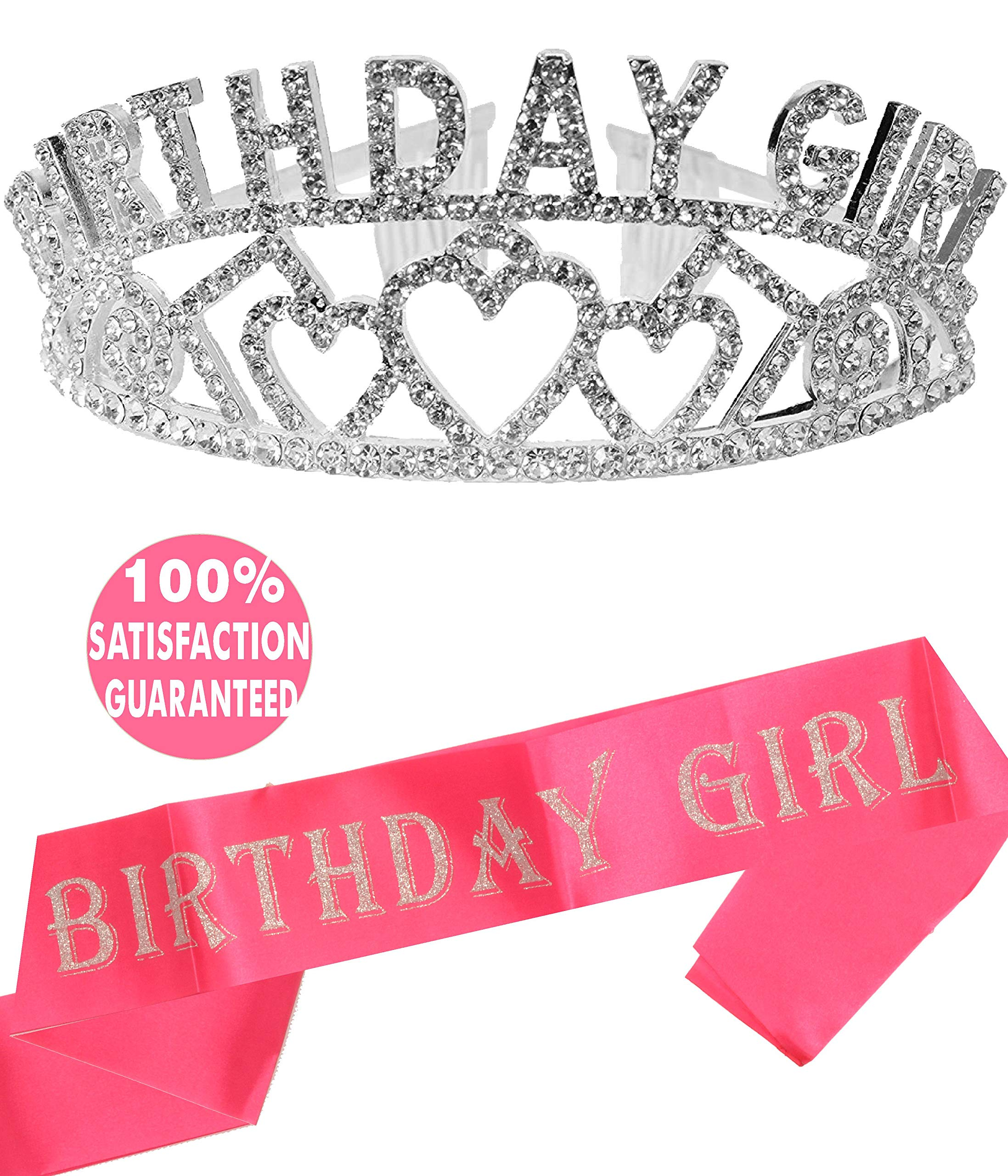 Birthday Girl Sash and Tiara, Birthday Girl Sash and Crown, Happy Birthday Party Supplies, Favors, Decorations 13th, 16th, 21st, 30th, 40th, 50th, 60th, 70th, 80th, 90th Birthday (Silver)