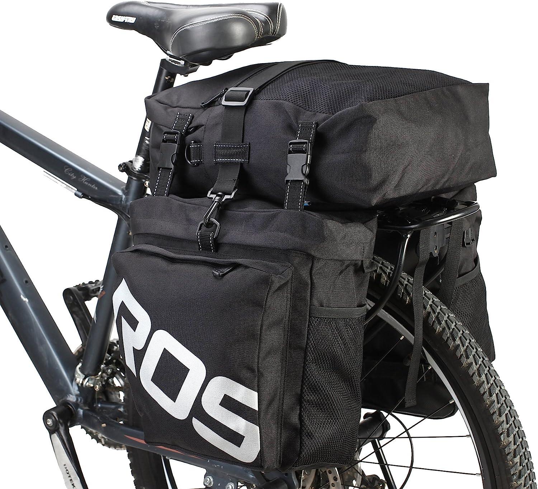 DCCN Alforja para Bicicleta Trasera Bicicleta Trasera para Bicicleta de Equipaje Grandes Rack Impermeable Asiento Trasero Bolsa de Transporte Negro Militar 37L