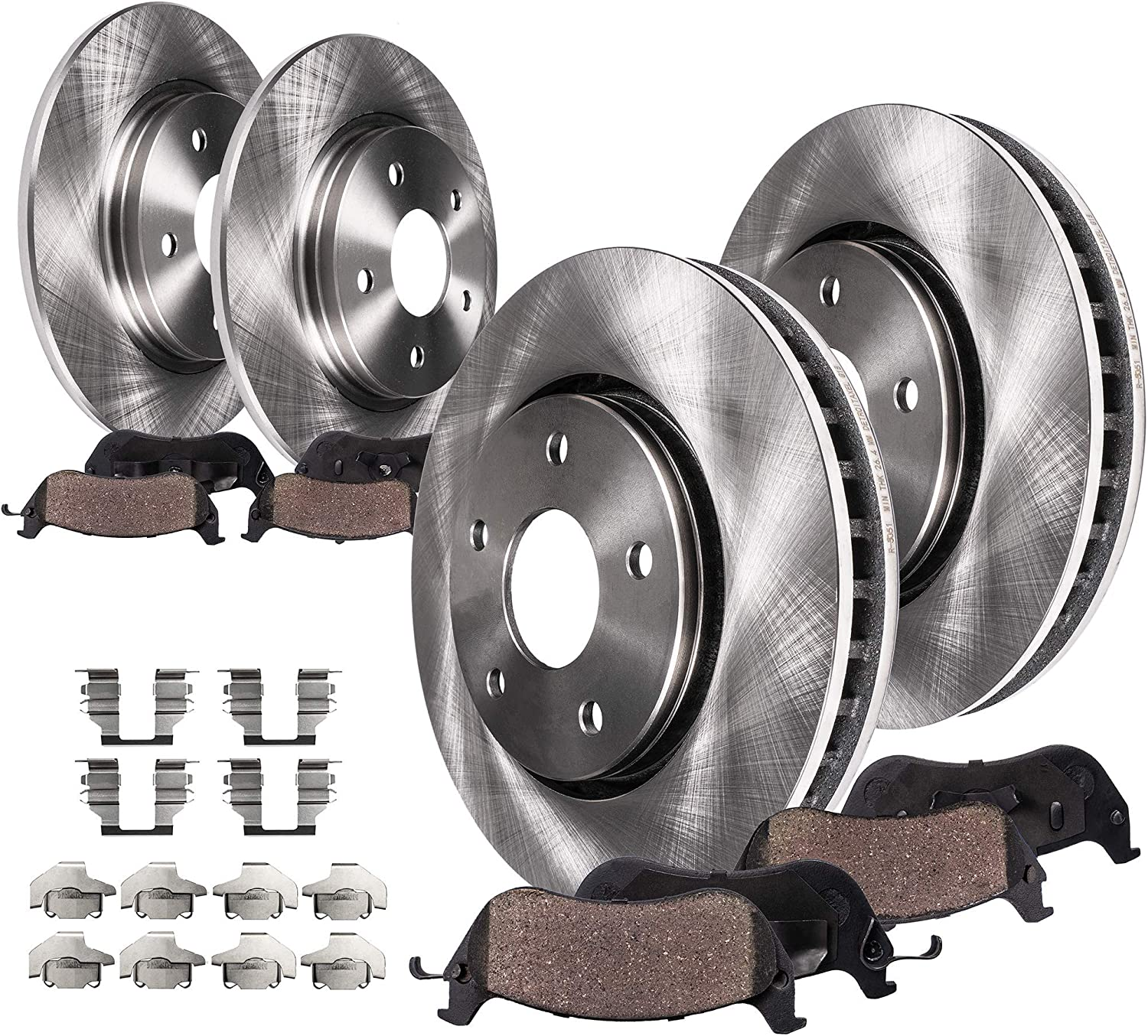 Front Drilled Rotors Pads /& Rear Drums Shoes for 1999-2000 Ford F-150 4WD 5-Lugs