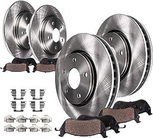 Detroit Axle - Complete FRONT & REAR Brake Kit Rotors & Ceramic Brake Kit Pads w/Hardware fits 2006 2007 2008 2009 2010 Chevrolet Impala - [2006-2007 Monte Carlo]