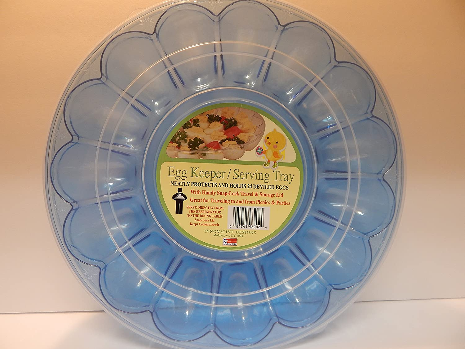 Spring Holiday Dyed Eggs Easter Eggs Colored Eggs Deviled Eggs Tray with Lid Blue Holds 24 Snap On Lid Deviled Egg Tray Deviled Egg Carrier with Lid Innovative Designs