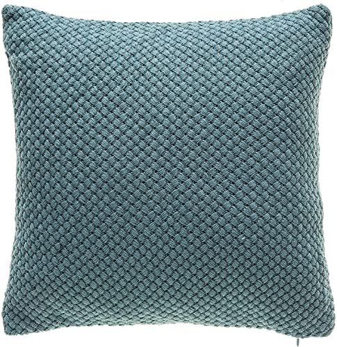 TINA S HOME Knitted Decorative Throw Pillows with Down Alternative Filling Washable Solid Color Toss Accent Pillows for Couch Sofa Bed Home Kitchen Decor 18×18, Teal