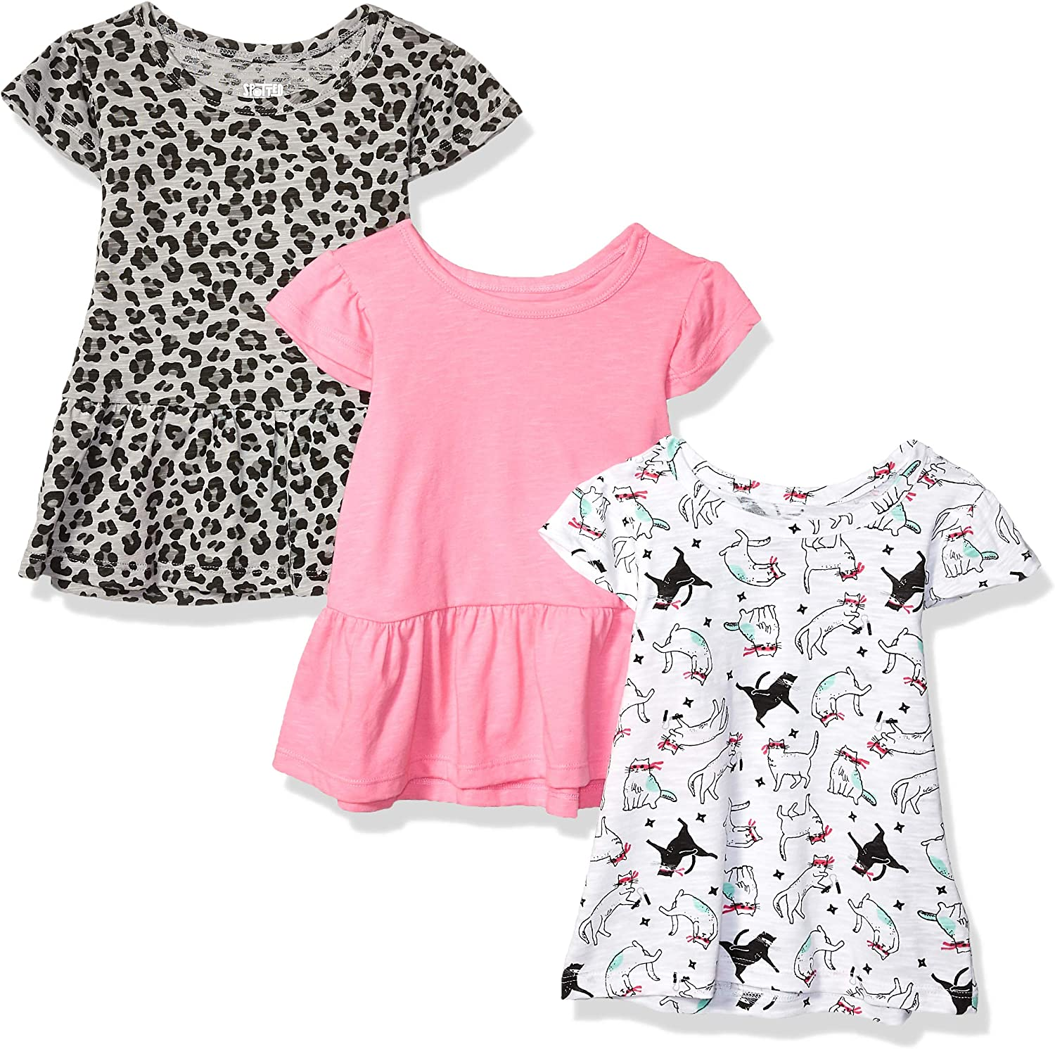 Spotted Zebra Girls Toddler /& Kids 3-Pack Short-Sleeve Ruffle Tops Brand