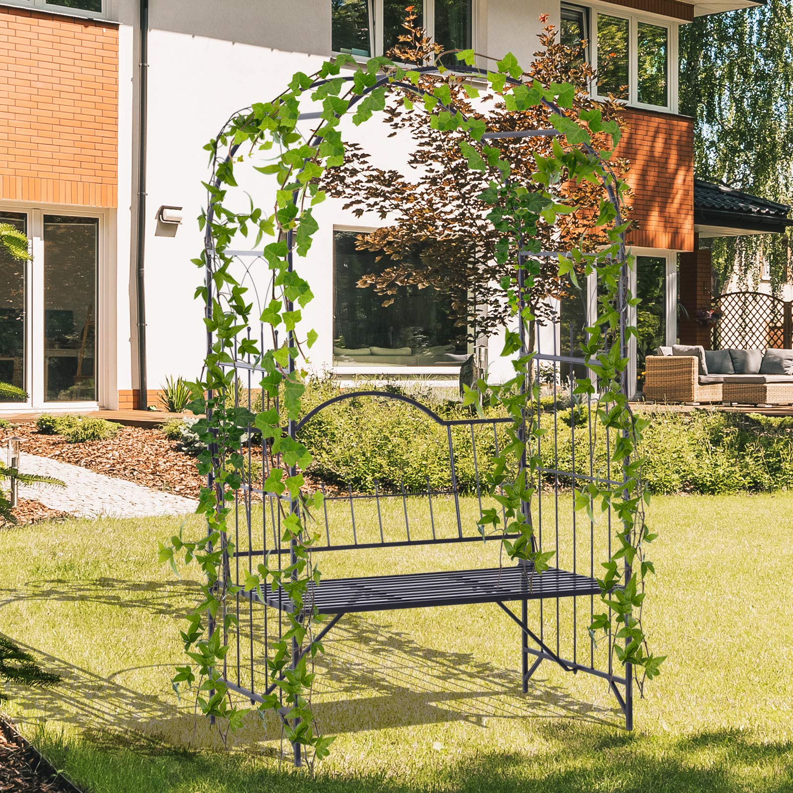 Outsunny Outdoor Garden Arbor Arch Steel Metal with Bench Seat - Black by Outsunny (Image #2)