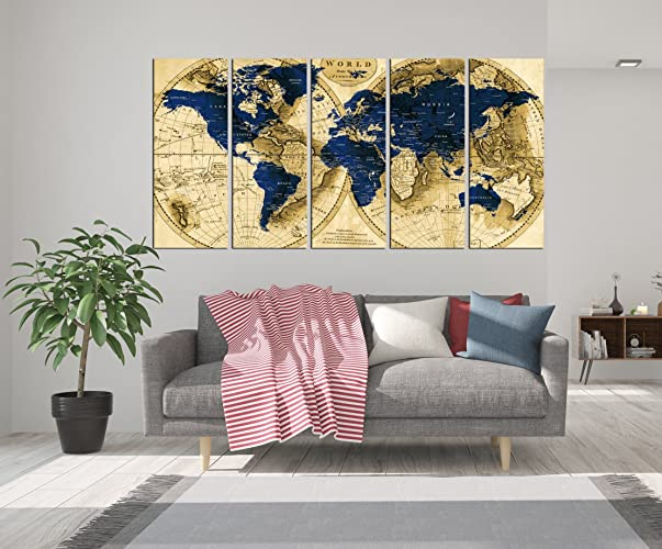 Amazon navy blue push pin world map canvas art print framed navy blue push pin world map canvas art print framed map wall decal for living gumiabroncs Image collections