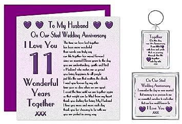 Captivating My Husband 11th Wedding Anniversary Gift Set   Card, Keyring U0026 Fridge  Magnet Present