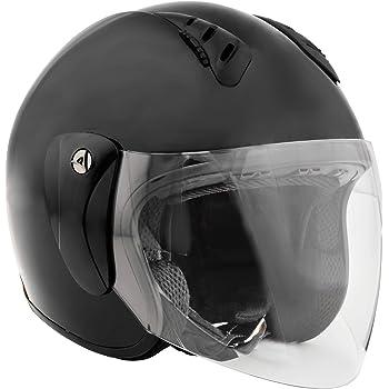 Fuel Helmets SH-WS0016 Open Face Helmet with Shield, Gloss Black, Large