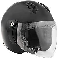 Fuel Helmets Casco Abierto con Escudo, Motorcross-Motocicletas, Negro Satinado, Mediano